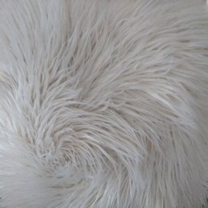 Mongolian off white fur cushion
